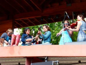 The all-Lyons band Watergirls played a special gospel hour July 27, 2014 at Rockygrass in Lyons, Co. (Photo by Hans Lehndorff)
