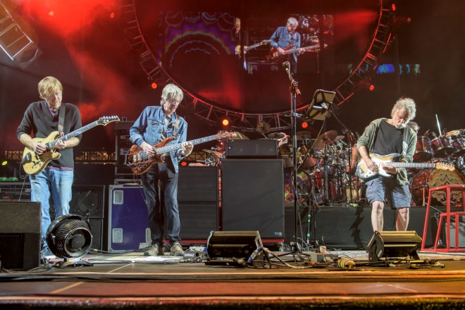 Trey Anastasio, from left, Phil Lesh and Bob Weir of The Grateful Dead perform a Grateful Dead Fare Thee Well Show on Sunday, June 28, 2015, in Santa Clara, Calif. (Jay Blakesberg / Associated Press, Invision for the Grateful Dead)