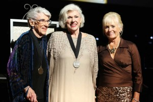 From left, Maxine Brown, Bonnie Brown and Becky Brown stand onstage at the Country Music Hall of Fame 2015 Medallion Ceremony at Country Music Hall of Fame and Museum on Sunday. (Laura Roberts / Invision, Associated Press) Source: Laura Roberts/Invision/