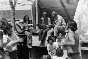 This photograph captures the moment that Magic Music members Chris Daniels, playing guitar at left, and Will Luckey, playing guitar at right, first met, during Woodstock West on the University of Denver campus in 1970. Randy Welton is playing sax. (Chris Daniels / Courtesy photo)