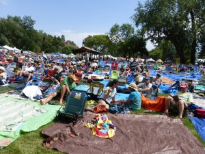 Bluegrass music fans soak in the sun and the twang at the 41st Rockygrass Festival in Lyons, Co. Photo by John Lehndorff)