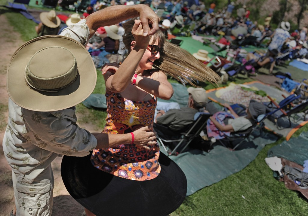 There will be plenty of reason for 2014 RockyGrass attendees to dance, as Patrick Noel, left, and Emilyn Inglis did last year. (Michael Wilson / Special to the Camera)