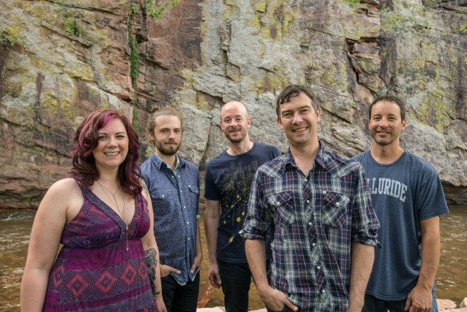 Allie Kral and Jake Jolliff, left, will join the Yonder Mountain String Band (from left, Ben Kaufmann, Dave Johnston and Adam Aijala) for a four-night run at the Boulder Theater starting Dec. 31. (Tobin Voggesser / Courtesy photo)