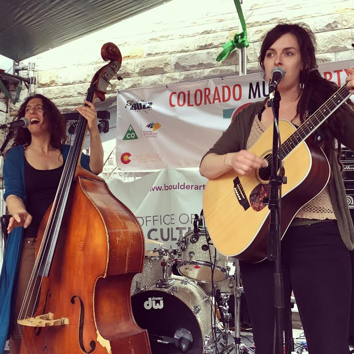 Julie Gussaroff, left, and Alexandra Schwan perform with The Sweet Lillies during a mini-showcase of Boulder musicians at the Colorado Music Party during South By Southwest music festival on Saturday in Austin, Texas. (Quentin Young / Staff Photo)