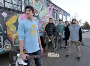 Tom Huber, foreground, Patrick Mulholland, Joe Pesa, David Halvorson and Caton Smith are the Boulder reggae band Na'an Stop. (David R. Jennings / Staff Photographer)